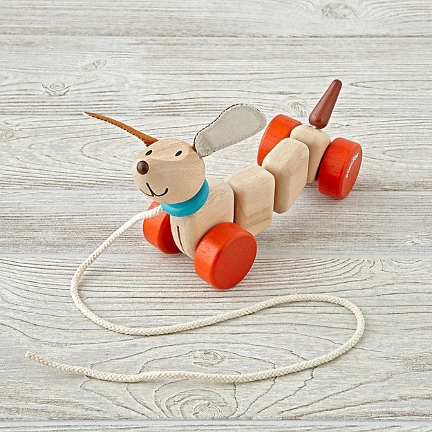 Land of Nod's Happy Puppy Wooden Pull Along