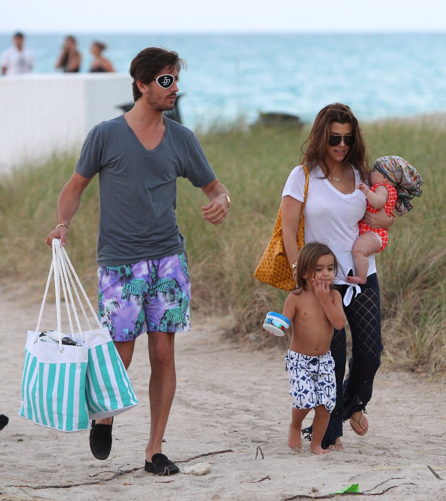 Scott Disick and his family went to the beach in Miami.