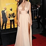 A Sexy Champagne Dress With a Dramatic Slit
