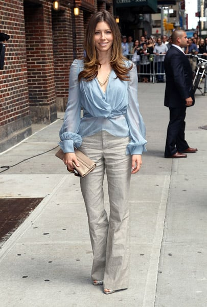 Promoting the flick with David Letterman in a baby blue sheer blouse and wide-leg trousers.