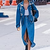 Go For a Flowy Look With an Oversize Denim Jacket and Combat Boots