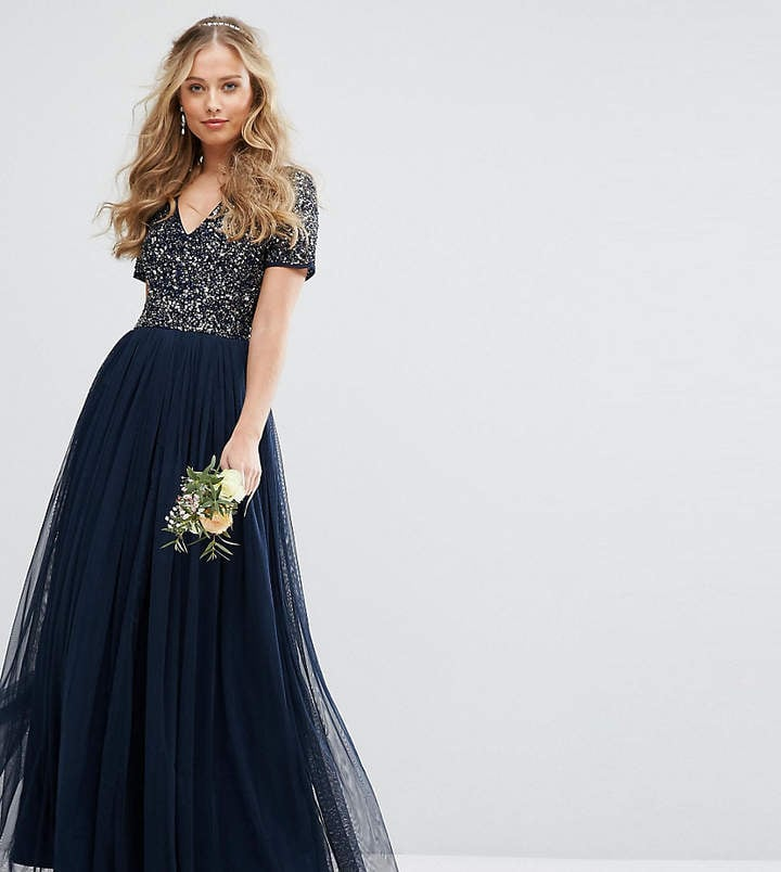 864e96ffd93 Maya V Neck Maxi Tulle Dress With Tonal Delicate Sequins