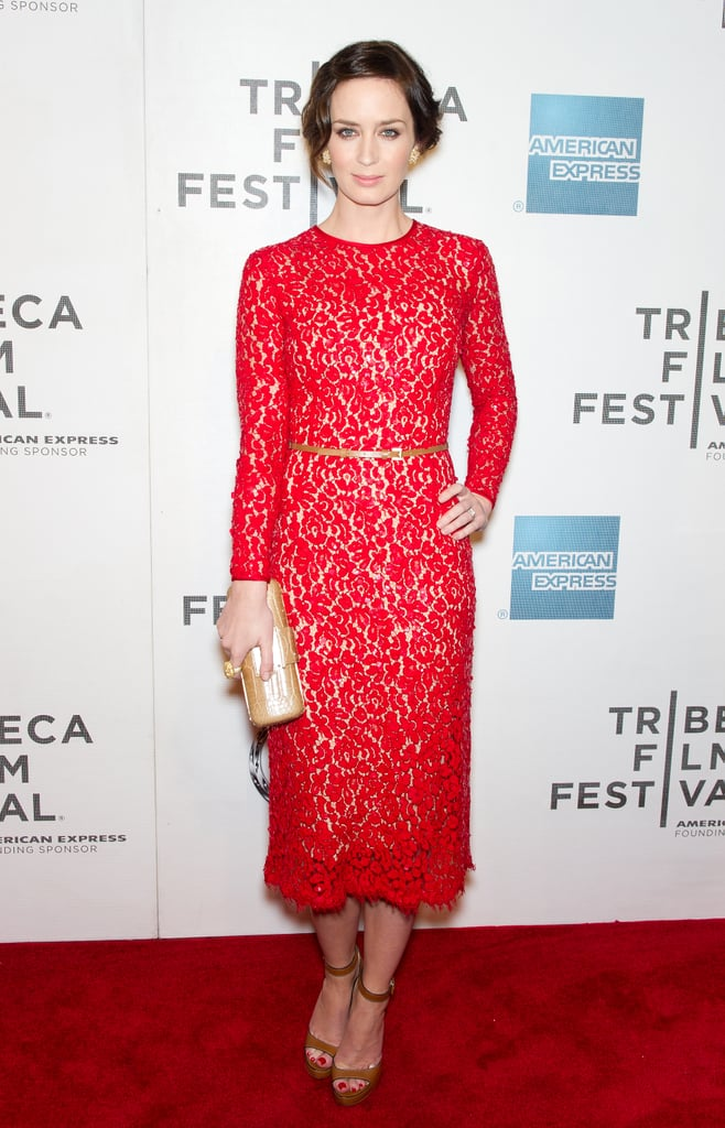 "Emily Blunt chose a red lace Michael Kors dress last night for her second movie debut at the Tribeca Film Festival in as many days. She joined her director Lynn Shelton for a red-carpet screening of Your Sister's Sister, and on Wednesday evening, she linked up with Jason Segel as the pair premiered their comedy The Five-Year Engagement. The comedy, about a couple's long-delayed walk down the aisle, hits theaters everywhere a week from today. Emily hasn't had her husband, John Krasinski, by her side for this week's festivities, but Jason brought his real-life love, Michelle Williams, to the Five-Year screening and afterparty. The new couple have been keeping their relationship relatively under the radar, but Jason was spotted over the weekend with pictures of the actress and a message that read ""I love you"" stickered to the back of his iPhone."