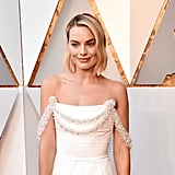 Margot Robbie White Chanel Dress at Oscars 2018