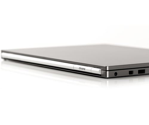 The laptop is just slightly thicker than the MacBook Air. Like the Air, the Chromebook Pixel has hidden speakers and vents, and a thin backlit keyboard. There's also plenty of multimedia ports: 2 USB 2.0, a mini display port, an SD or MMC card reader.