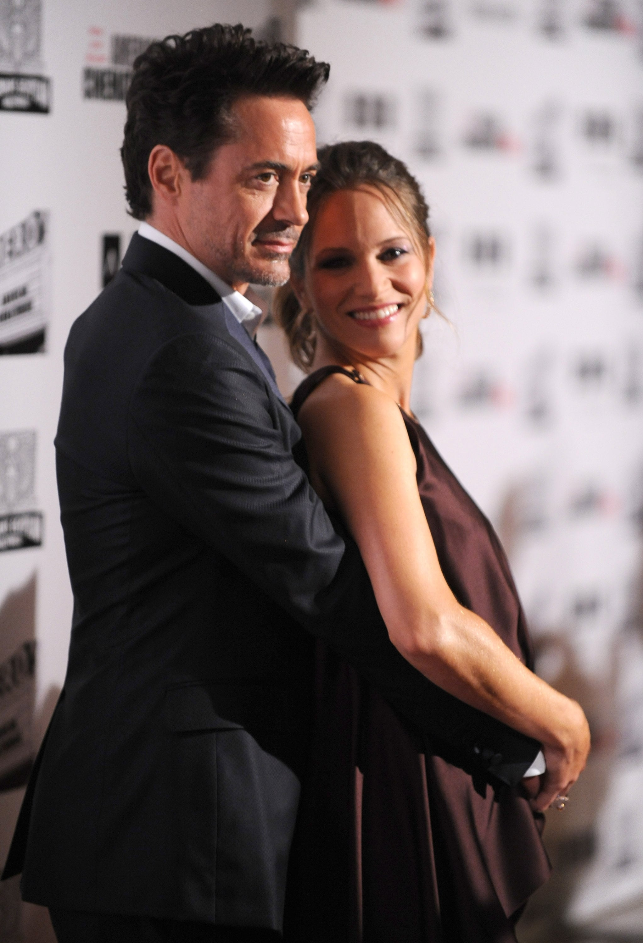 Robert Downey Jr. hugged his pregnant wife.