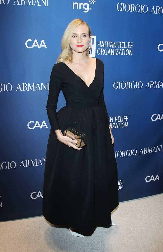 Diane Kruger went for a simple black gown.