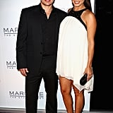 For the opening of an Australian nightclub, Vanessa Lachey wore a loose-fitting black-and-white chiffon dress.