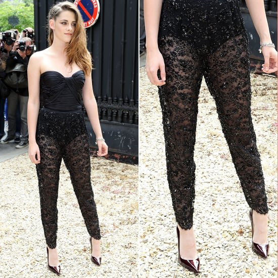 Kristen Stewart in Sheer Pants at Zuhair Murad Show