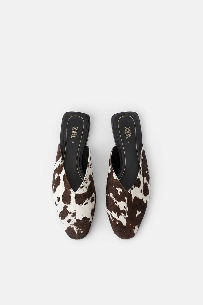 Zara Animal Print Leather Mules