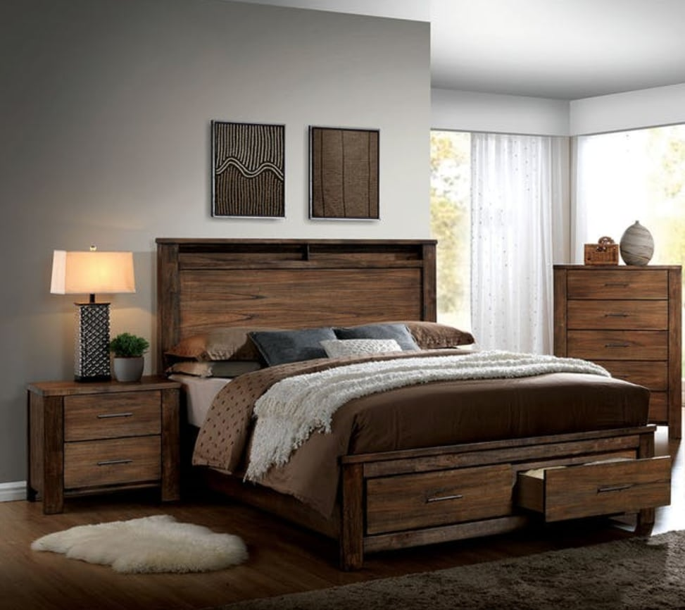 Furniture of America Nangetti Rustic 2 Piece Queen Bedroom Set ...
