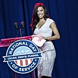 Eva Longoria spoke to volunteers at a service event on the National Mall.