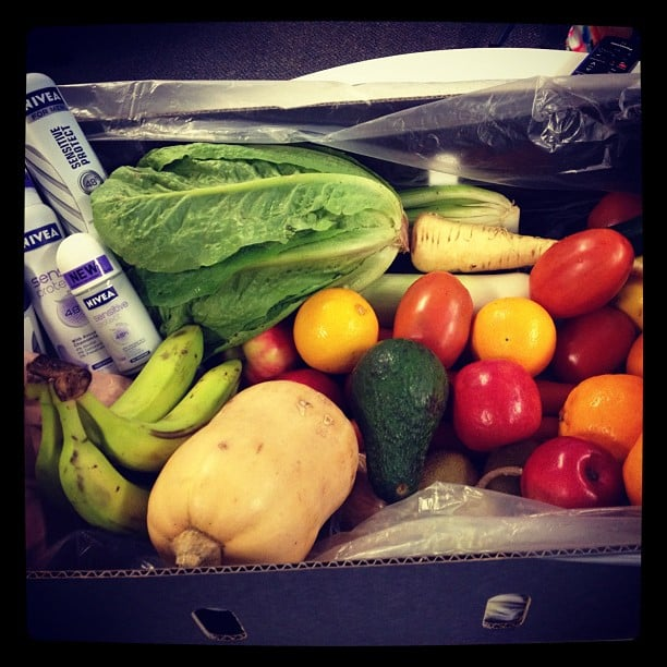 Bella ed Sarah received a very fresh delivery from Nivea and Doorstep Organics. Yum!