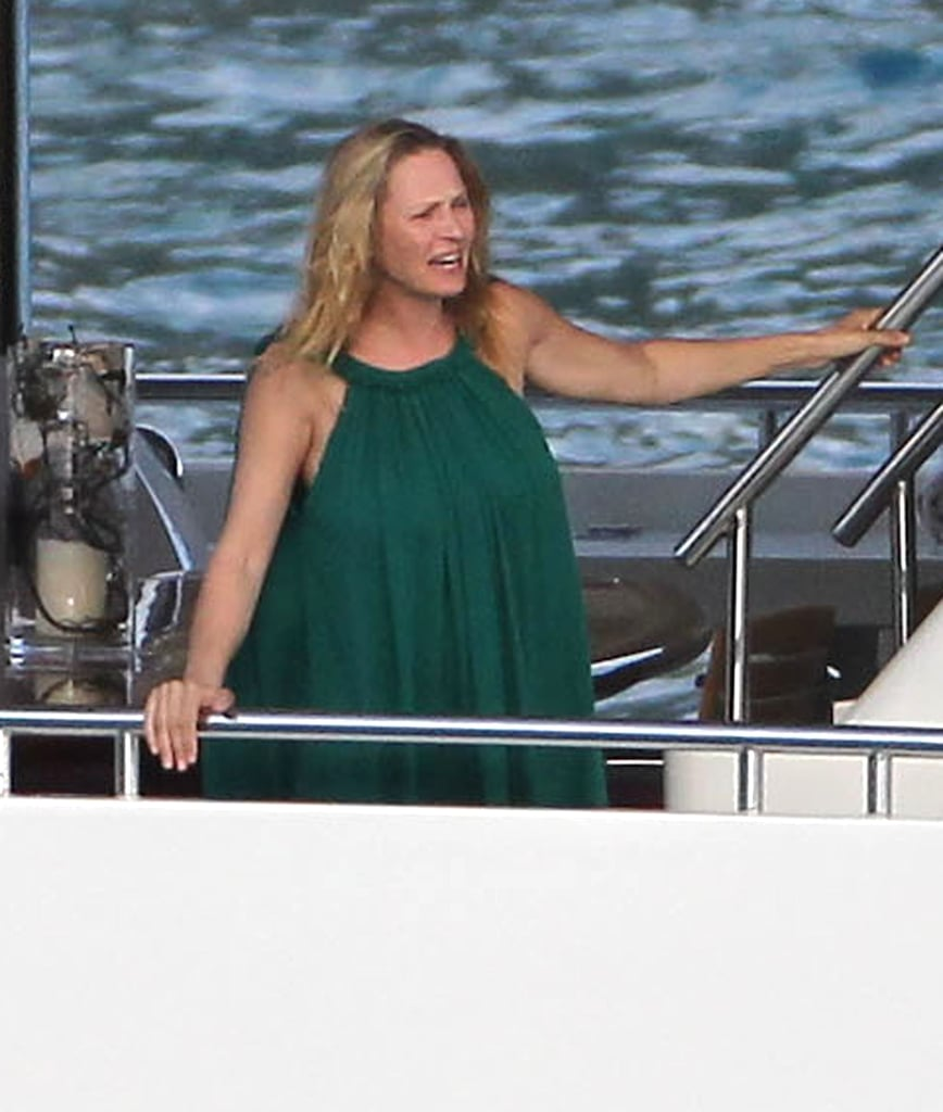 Pregnant Uma Thurman Goes For a Swim in a Striped Suit