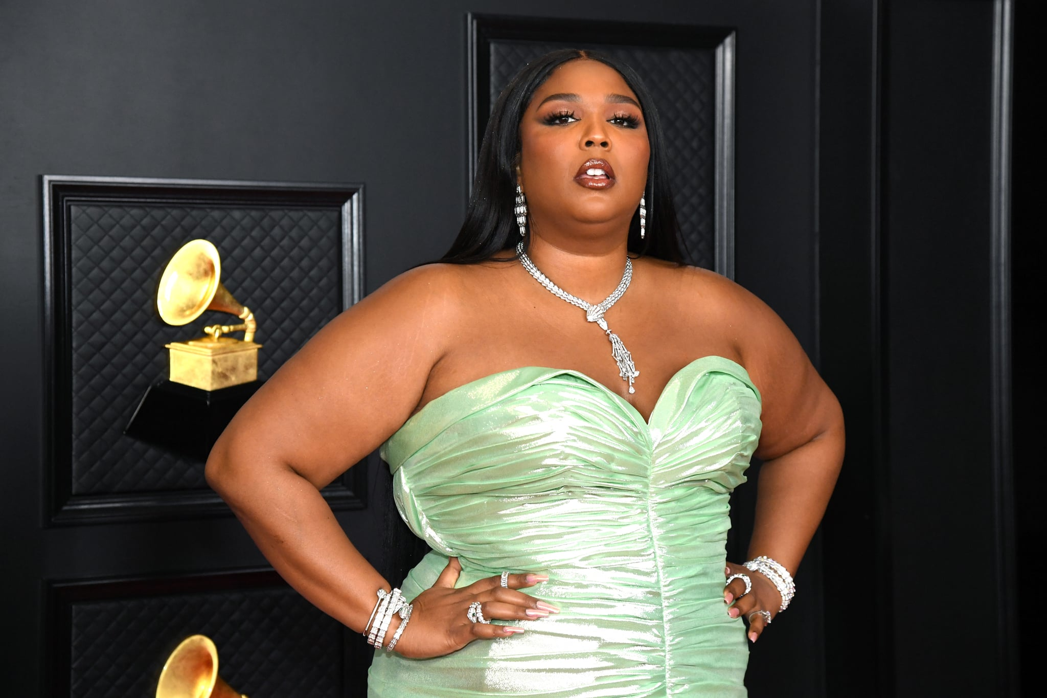 LOS ANGELES, CALIFORNIA - MARCH 14: Lizzo attends the 63rd Annual GRAMMY Awards at Los Angeles Convention Centre on March 14, 2021 in Los Angeles, California. (Photo by Kevin Mazur/Getty Images for The Recording Academy )