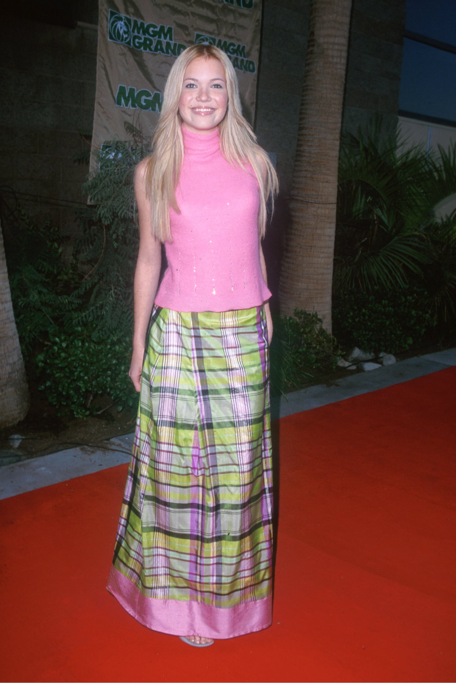Mandy Moore went with a bright plaid look for the December 1999 Billboard Music Awards.