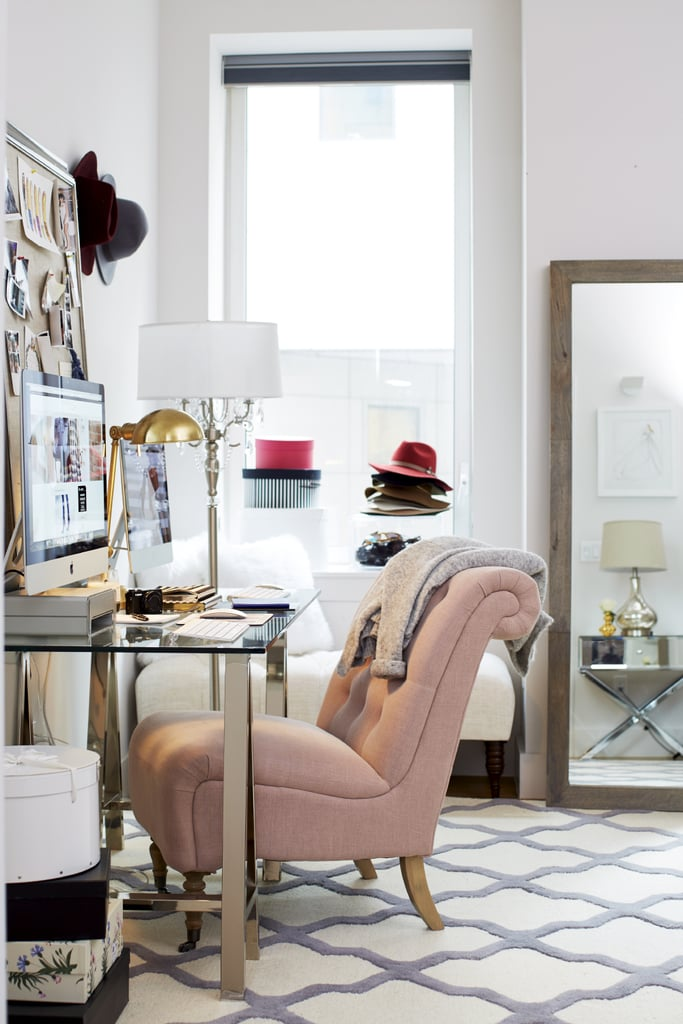 "The fashion blogger's personality comes through the strongest in her office. ""It's super girly with my pink chairs and furry pillows,"" she explains of the warm and welcoming workspace."