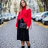 Style Them With a Red Sweater and Midi Skirt