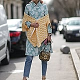 Play with pastels when you add a wrap or shrug onto your coat dress.