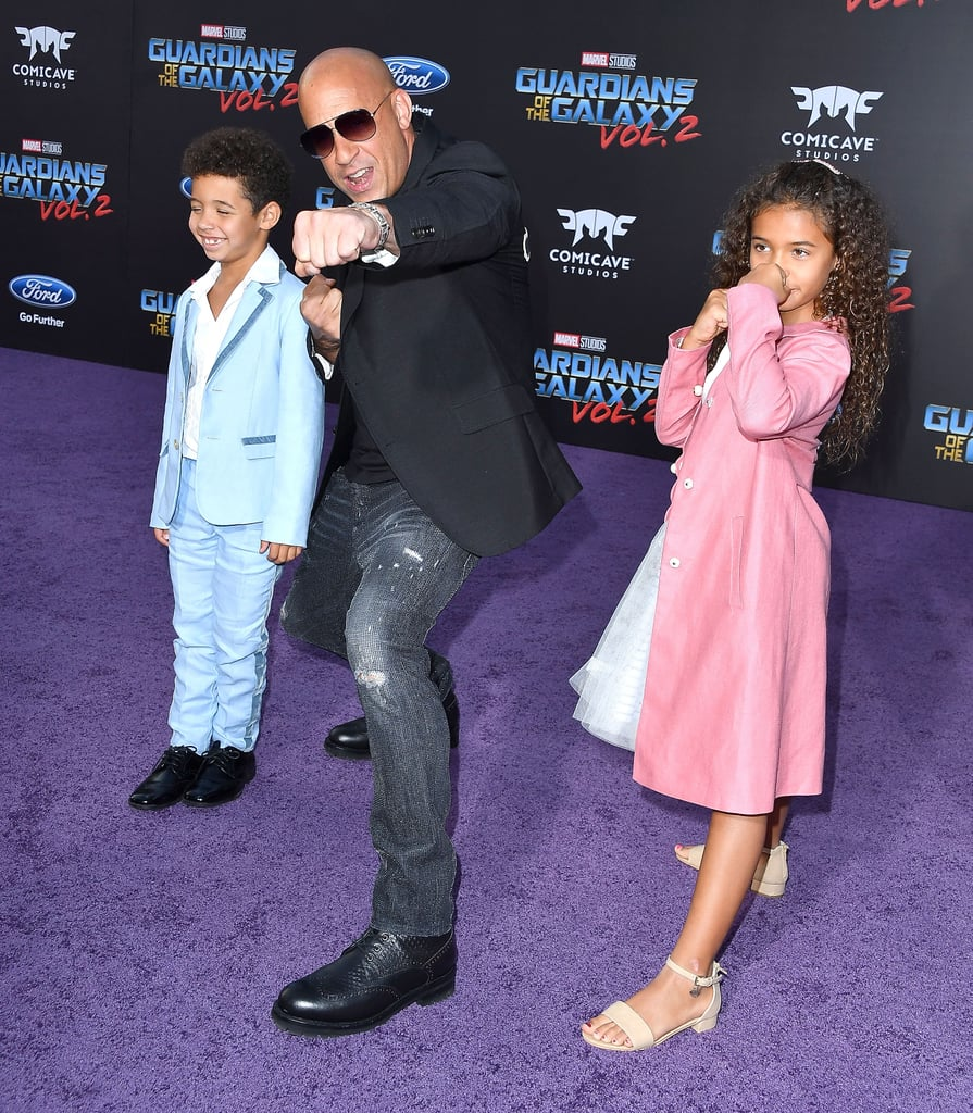 "Vin Diesel turned the LA premiere of Guardians of the Galaxy Vol. 2 into a family affair when he stepped out with his kids Hania and Vincent on Wednesday. The Fate of the Furious actor held his children's hands as they walked the red carpet, and the trio struck a couple of silly poses for the cameras. Sadly, his longtime partner, model Paloma Jiménez, and their daughter Pauline were not in attendance, though Vin often shares adorable family moments on Instagram.       Related:                                                                                                           15 Hollywood Tough Guys Who Turn Into Mush Around Their Kids               It's been a busy month for Vin, what with the premiere of The Fate of the Furious. Not only did the movie have the biggest global box office opening of all time, but it also reignited interest in Vin's rumored beef with costar Dwayne Johnson. Vin addressed the feud in a recent interview with USA Today, saying, ""things may be blown out of proportion"" and that ""Dwayne Johnson only has one big brother in this film world and that's me."""