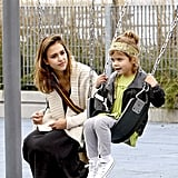 Jessica Alba at a park in NYC with Honor.