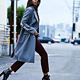 Platform Boots, Trousers, and a Statement Coat
