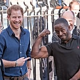 Harry visited the Community Recording Studio at Russell Youth Centre in Nottingham in October, where manager Trevor Rose made the prince laugh as he showed him his impressive muscles.