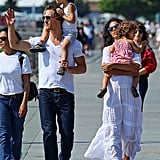 Matthew McConaughey waved to fans while out with Camila Alves, Levi McConaughey, and Vida McConaughey.