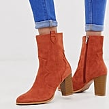 ASOS Rust Stacked Heel Ankle Boots