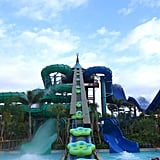 The slides here are wild. I was sad I couldn't stay for more — I conquered the terrifying blue one but still haven't been on that green slide — but I had to hop a plane to California ASAP!