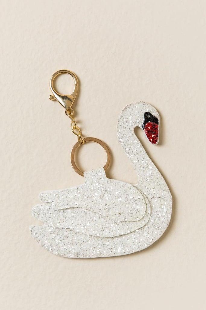 Swan Glitter Keychain