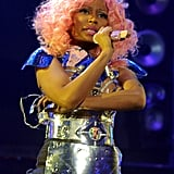 Nicki Minaj crossed her arms while performing.