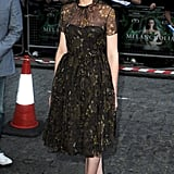 For the London premiere of Melancholia in late 2011, Kirsten styled her floral Honor frock with navy Nicholas Kirkwood pumps.