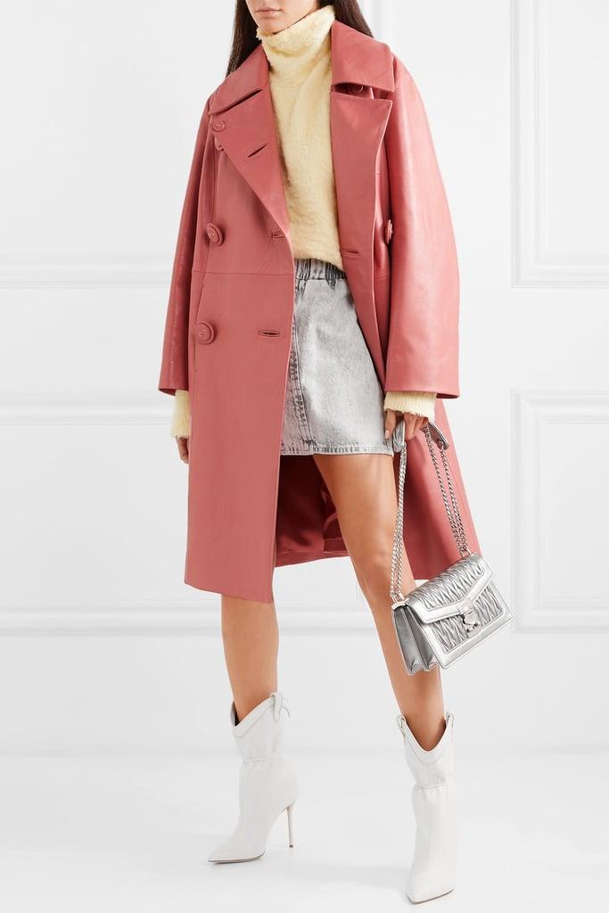 Miu Miu Double-Breasted Leather Coat