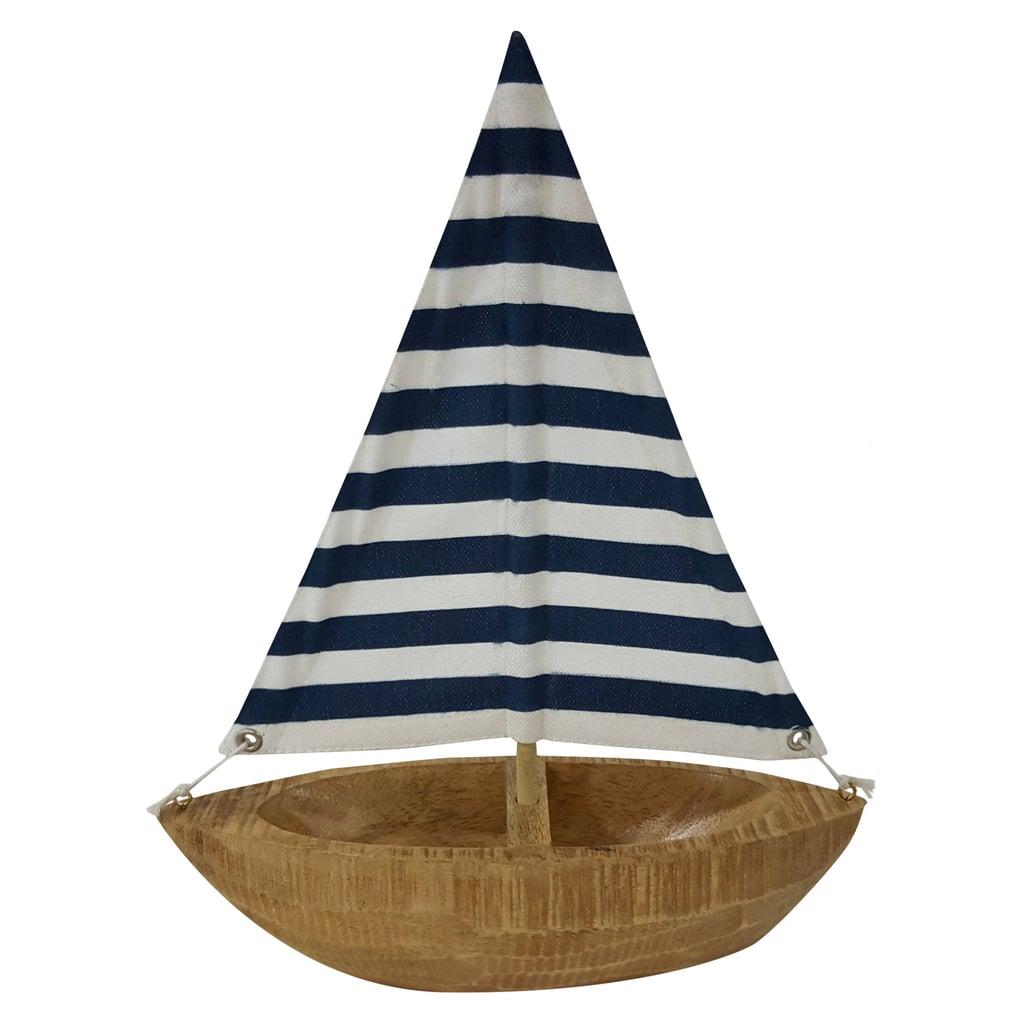 Threshold Blue Stripe Wooden Boat Decor