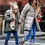 Sarah Jessica Parker held hands with James Wilkie Broderick for a walk in NYC.