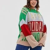 ASOS Design Curve Christmas Embellished Oversized Jumper