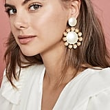 Lele Sadoughi Round Earrings with Plumeria Trim