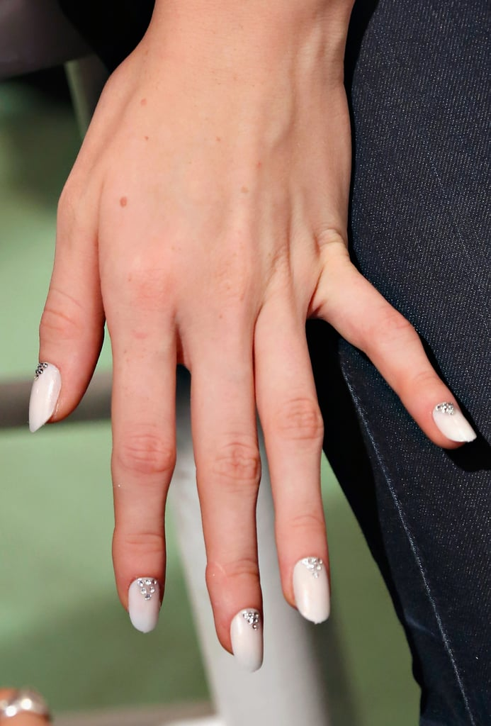White nails with accents at Honor.