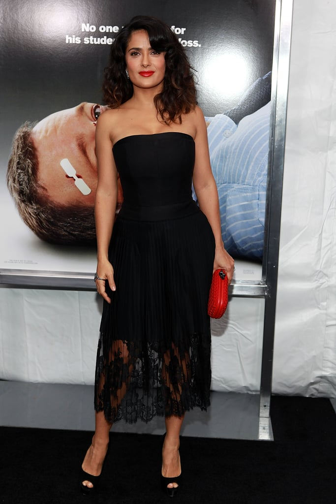 Salma Hayek worked the look in a lace, strapless Stella McCartney with a gorgeous semi-sheer lace hemline.