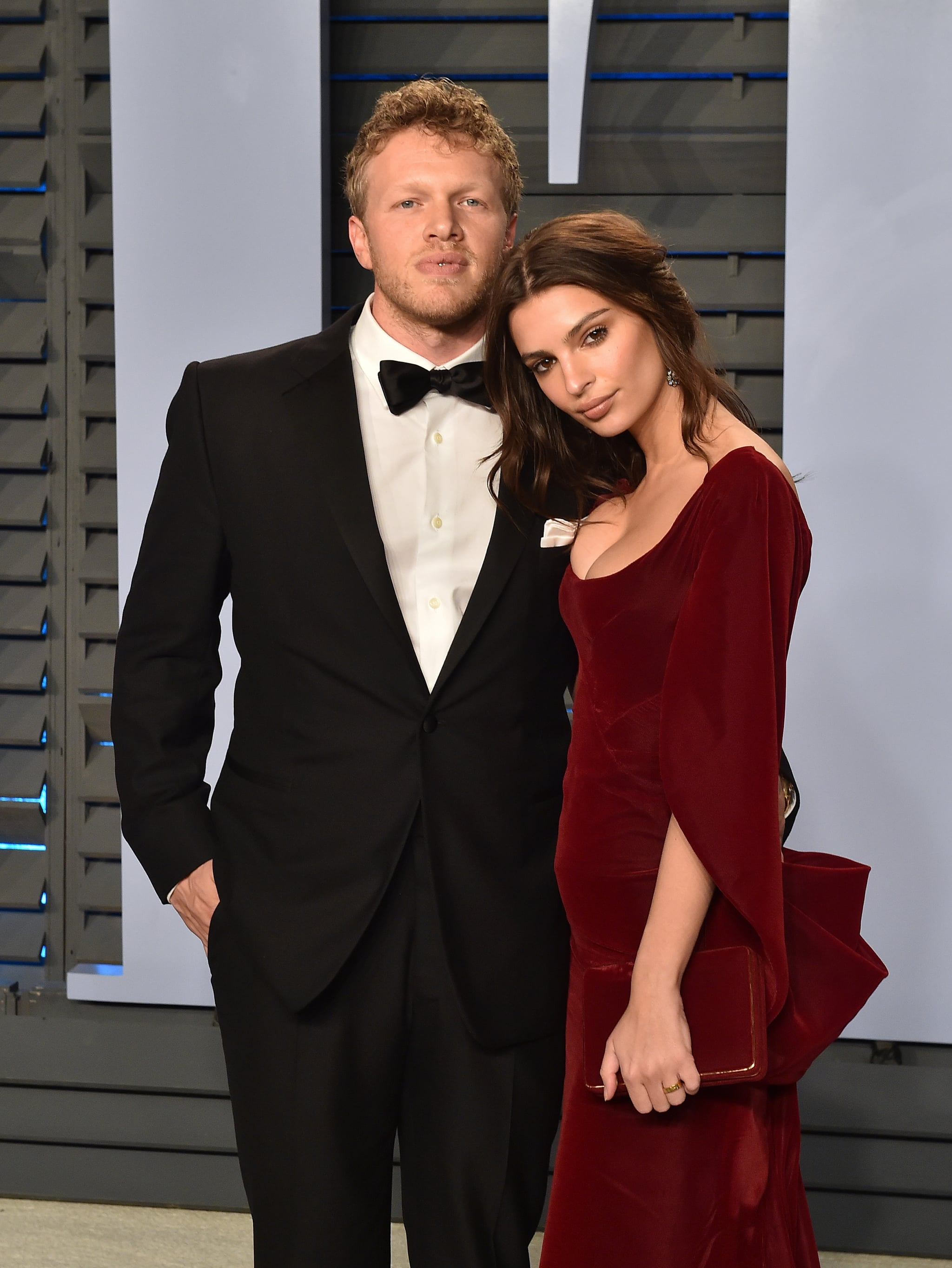 BEVERLY HILLS, CA - MARCH 04:  Actors Sebastian Bear-McClard (L) and Emily Ratajkowski attend the 2018 Vanity Fair Oscar Party hosted by Radhika Jones at Wallis Annenberg Centre for the Performing Arts on March 4, 2018 in Beverly Hills, California.  (Photo by Axelle/Bauer-Griffin/FilmMagic)