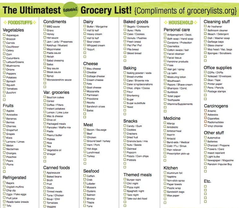 Grocery List  Free Printable Checklists  Popsugar Smart Living Photo