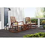 Hampton Bay Willow Glen Farmhouse Teak Wood Outdoor Patio Rocking Chair