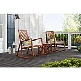 Hampton Bay Willow Glen Farmhouse Teak Wood Outdoor Patio Rocking Chair