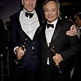 Daniel Day-Lewis and Ang Lee hugged at the Governors Ball.