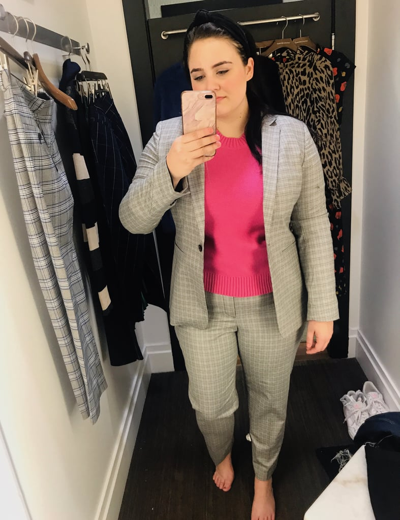 Gray Plaid Suit and Pink Sweater