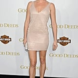Rebecca Romijn looked effortlessly chic, and sported mile-long legs, in this nude minidress.