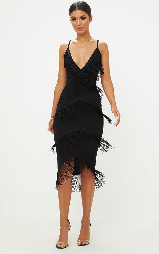 Pretty Little Thing Black Strappy Tassel Longline Midi Dress