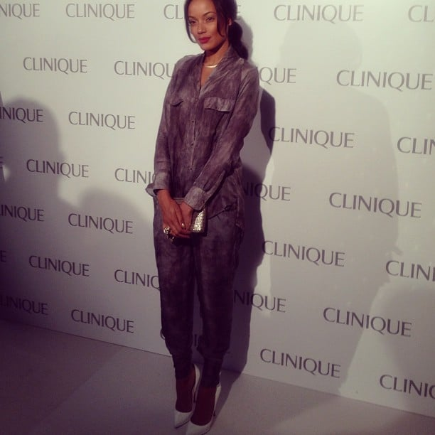 Selita Ebanks hit the red carpet in a printed jumpsuit for a Clinique Yellow event. Source: Instagram user selitaebanks