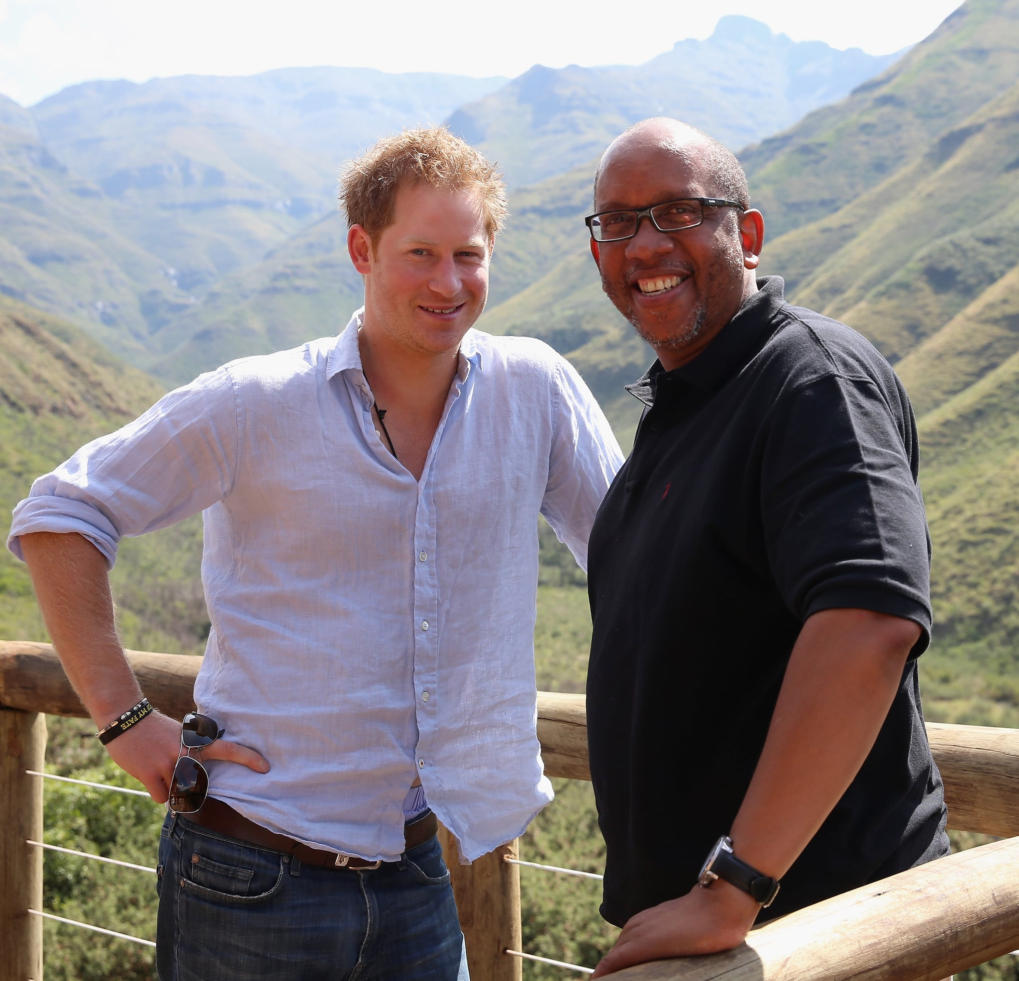 MOKHOTLONG, LESOTHO - DECEMBER 08:  Prince Harry with Prince Seeiso of Lesotho in the Maluti Mountains on December 8, 2014 in Mokhotlong, Lesotho. Prince Harry was visiting Lesotho to see the work of his charity Sentebale. Sentebale provides healthcare and education to vulnerable children in Lesotho, Southern Africa. The particular theme of his visit was to check on the progress of the Mamohato Childrens Centre which will provide vital support to children affected by HIV. Prince Harry founded Sentebale (which means Forget Me Not in Sesotho) with Prince Seeiso in 2006.  (Photo by Chris Jackson/Getty Images for Sentebale)